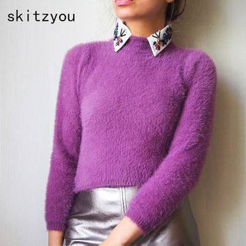 skitzyou Autumn Warm Turtleneck Knitted Short Sweaters Winter Long Sleeve Pullovers Black Tops Sexy Pink Soft harajuku Jumpers