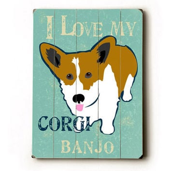 Personalized Love My Corgi Wood Sign