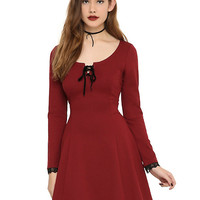 Burgundy Lace-Up Lace Trim Dress