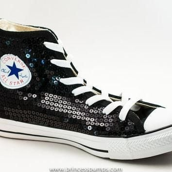 classic black sequin converse all star hi top