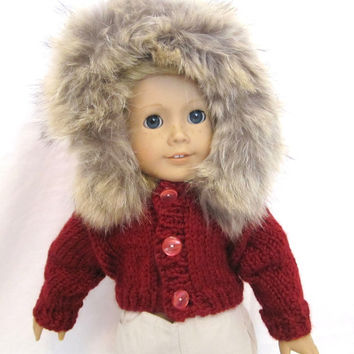 American Girl Sweatshirt Jacket Fur Hood Knit Red Doll