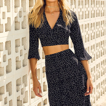 Night to Remember Black and White Polka Dot Crop Top