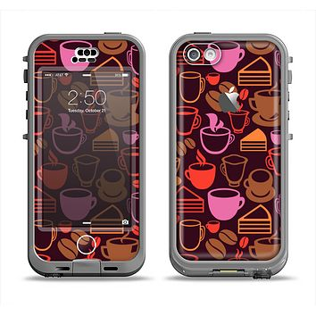The Vector Orange & Pink Coffee Time Apple iPhone 5c LifeProof Nuud Case Skin Set