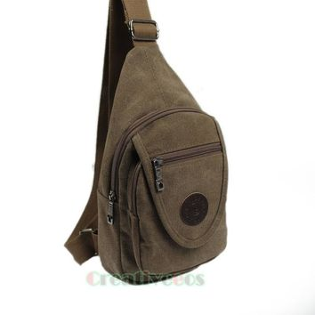 Men's Casual Canvas Travel Motorcycle Rucksack Back pack Cross Body Bags Messenger Shoulder Sling Chest Bag