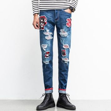 2017 Men Jeans Skinny Ripped Denim Pants Slim Patched Destoryed Cartoon Design Biker Jeans Brand Clothing Male Quality Balmai