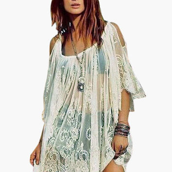 Floral Lace Off Shoulder Pleated Cover-up