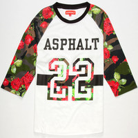 Asphalt Yacht Club Varsity Floral Camo Mens Baseball Tee White  In Sizes