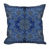 Royal Blue Bohemian Floral Lace Throw Pillow