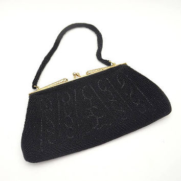 Vintage Black Beaded Purse, Beautiful Filigreed Frame, Rhinestone Clasp, Beaded Strap, Beaded Evening Bag, circa 1940s-1950s