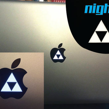 Triforce Logo Macbook Pro Zelda Triforce decal - Nayru - link - nintendo - Vinyl Decal - Apple logo - CHOOSE A COLOR! - Mac book pro lightup
