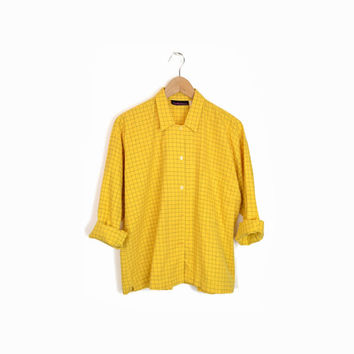 Vintage 90s Japanese Minimalist Shirt - Windowpane Check Boxy Blouse in Mustard Yellow - women's medium