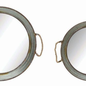 Round Metal Framed Mirrored Trays w/ Rope Handles