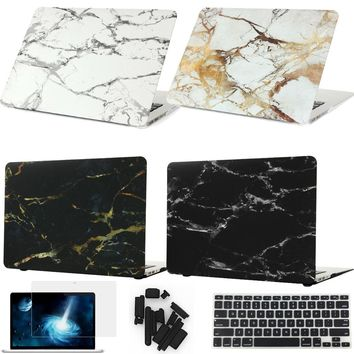 Marble Texture Case For Macbook Air 13 Laptop sleeve accessories For Pro Retina 11 12 15 free keyboard cover+screen protector