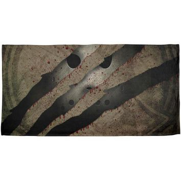 PEAPGQ9 Halloween Horror Movie Mask Slasher Attack All Over Beach Towel