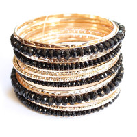 Black stone gold multi layered bangle bracelets