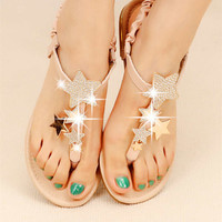 New Comfortable Rhinestone Star Flat Thong Sandals for Women