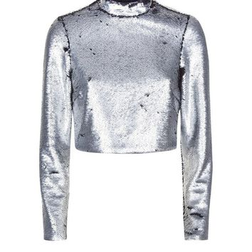 Silver Reversible Sequin Funnel Neck Crop Top | New Look