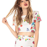 Floral Short Sleeve Mesh Accent Cropped Top
