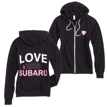 Genuine Subaru Women's Ladies Love Zip Fleece Sweatshirt Hoodie - Size Large:Amazon:Automotive
