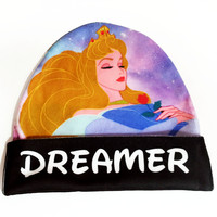 Sleeping Beauty Aurora Beanie | Dreamer Pastel Galaxy Print | Disney hat