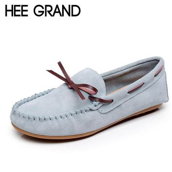 HEE GRAND Candy Colors Loafers Casual Leather Shoes Woman Bowtie Slip On Flats Spring