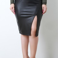 High Waist Pleather Asymmetrical Midi Skirt