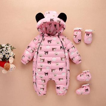 Newest Christmas Baby Rompers Duck Down Winter Thick Warm Jumpsuit Newborn Clothes Infant Boys Girls Outwear
