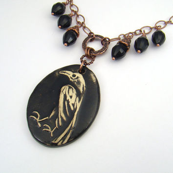 Black crow necklace, antiqued copper chain, 21 1/2 inches 55cm