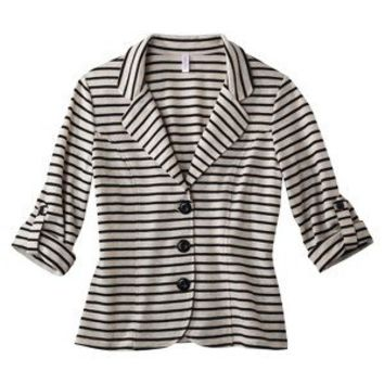 Xhilaration® Juniors Blazer - Oatmeal/Navy Stripe