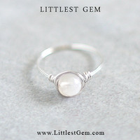 Gemstone Moonstone Ring - unique rings - wire wrapped jewelry handmade - custom