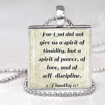 Scripture Glass Tile Pendant 2 1:7 Timothy  Bible Verse Necklace Handmade Christian Jewelry