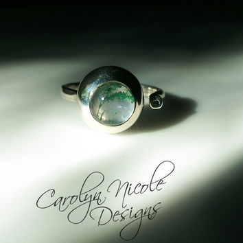 Two Stone Bezel Ring (Moss Agate and Tsavorite Garnet)