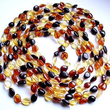 Multicolor Great Length 107 inches Baltic Amber Necklace..