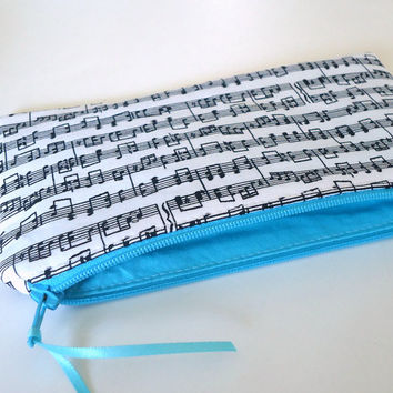 Music Note Zipper Pouch, Reed Case, Pencil Case