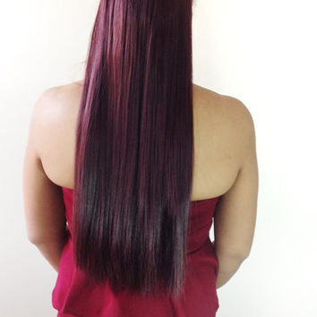 "22"" Red Wine Clip In Hair Extension"