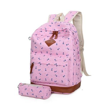 2017 Fashion Pink Preppy School Backpacks for Teenage Girls Nubuck Leather Canvas Printing Backpack School Bags Mochila Escolar