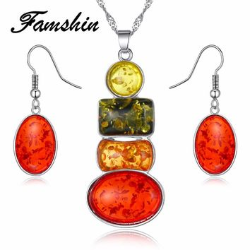 FAMSHIN New Jewelry Sets Necklace and Earring Set Multicolor Amber Earring Necklace Sets African Necklace Jewellery Set