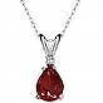 1.25 ctw Garnet & Diamond Marquise Pendant Necklace ~ Solid Sterling Silver