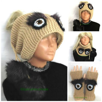 Knit Set Slouchy Beanie Slouch Hats Oversized + Fingerless Gloves Beige  With Fur PomPoms And   With Eyes Women
