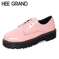 HEE GRAND Pink Oxfords Shoes Woman 2016 Platform Creepers Patent Leather Flats Casual