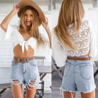 Sexy Women Chiffon Splice Lace Up Cropped Cardigan 3/4 Sleeve Lace Crochet Hollow Out Tops