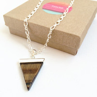 Triangle Tigers Eye Necklace Healing Stone Necklace Crystal Jewelry Tiger Eye Pendant Necklace Triangle Pendant Necklace Gifts for Her Boho