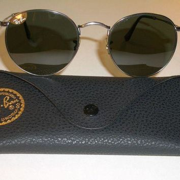 ESB2N Cheap RAY BAN RB3447 50[]21mm ROUND GUNMETAL WIRE G15 UV AVIATOR SUNGLASSES MINT outlet