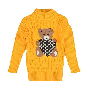 Soft Woolen Baby Boys Girls Sweaters Infant Cute Cartoon Bear Kids Pullovers Knitted Turtleneck Children Outerwear