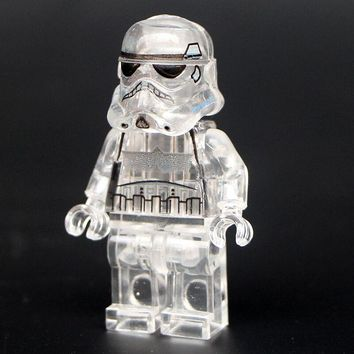 Star Wars Transparent Storm trooper Clone Trooper Imperial Shuttle Building Blocks Collection Toys for children