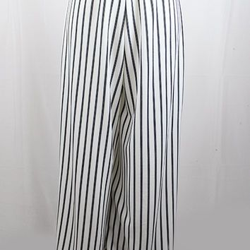 Pinstripe Pants with Elastic Waist & Tie Front - Ivory/Black