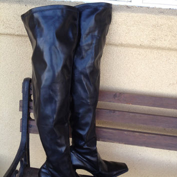 Thigh High Black Vegan Boots, Snug Fit Thigh High Boots, Black Stretch Tall Boots, Tall Ladies Boots 9M, Franco Sarto Tall Boots, Sexy Boots