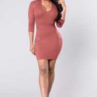 Crazy For You Dress - Red Brown