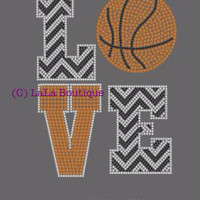 Basketball iron on hotfix rhinestone transfers - LOVE basketball - motif - applique for DIY shirts t-shirts - mom kids grandma, aunt