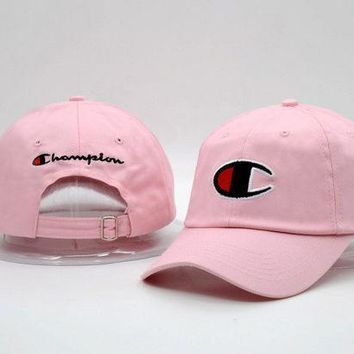 Pink Champion Printed Cotton Adjustable Sport Caps Hats